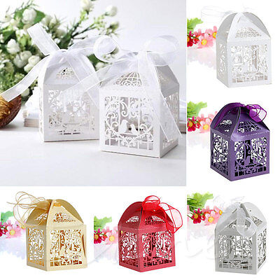 50X Luxury Wedding Favour Favor Sweet Cake Gift Candy Boxes Table Decor