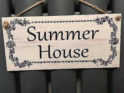 Summer House New Garden Gift Novelty Shabby Chic Plaque Sign Waterproof