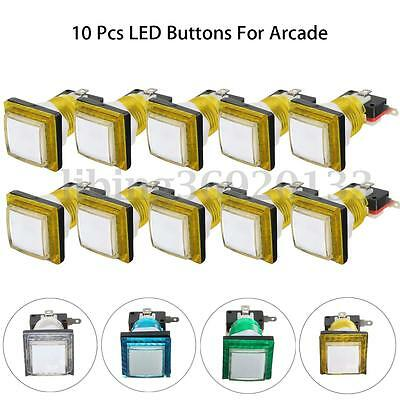 10PCS 34mm LED Beleuchtet Drucktaster Taster Platz Arcade Push Buttons Switch