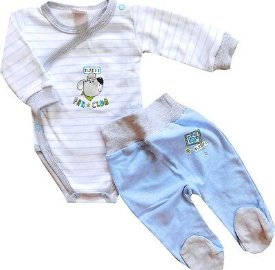 NEW * Baby Boy* 2 Piece Set of Trousers with feet & Babygrow **100% Cotton