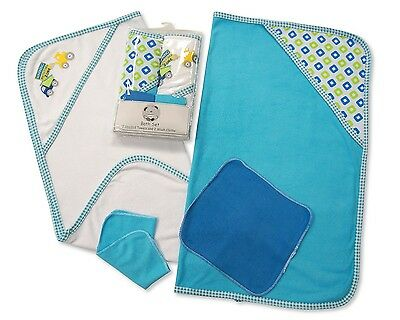 Pack of 4 Baby Bath Set Gift - Hooded Towel and Wash Cloth Set Blue