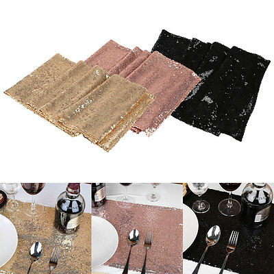 30x270cm Champagne Black Sequin Sparkly Bling Table Runner Wedding Party Decor