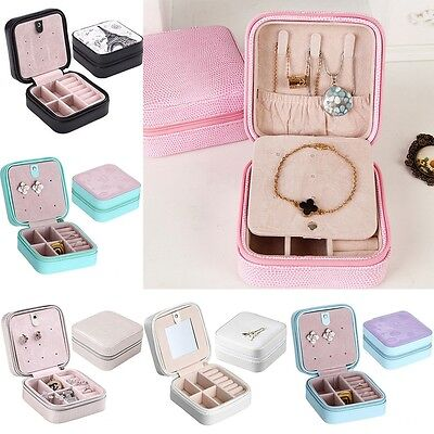 Leather Cosmetic Necklace Ring Jewelry Box Travel Storage Case Organizer Display
