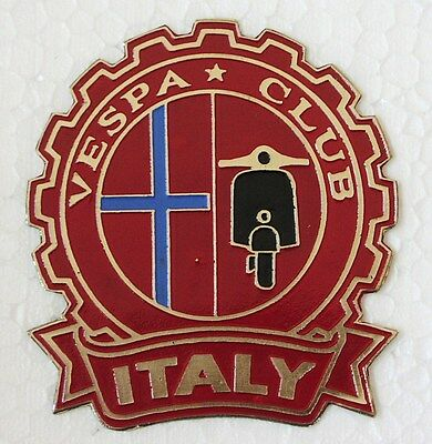 VESPA Club Italy scooter badge painted metal cog style