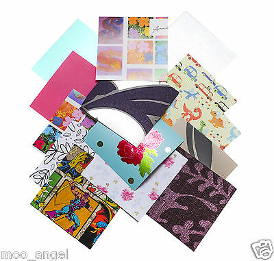 "100 pieces of paper and card Crafts Scrap booking 6""  5""  4""  3"" squares pre cut"