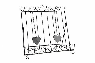 Cook Book Stand Recipe Holder Black Wire Metal Hearts Design Farmhouse Style