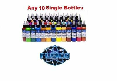 FUSION TATTOO INK Original Pigments Set of 10 Own Colors 1 oz 30 ml Bottles USA
