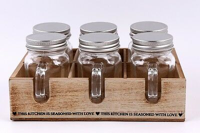 6 x Mini Mason Jar Type Herb Spice Holders / Shot Glasses in Shabby Wooden Crate