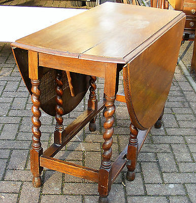 Rustic Oak barley twist drop leaf table use or restore