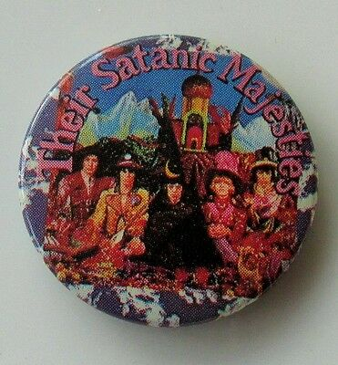 ROLLING STONES OLD METAL BUTTON BADGE FROM THE 1980's THEIR SATANIC MAJESTIES
