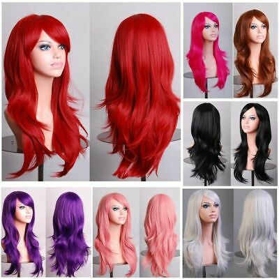 70cm Wavy Curly Sleek Full Hair Lady Wigs w Side Bangs Cosplay Costume Womens