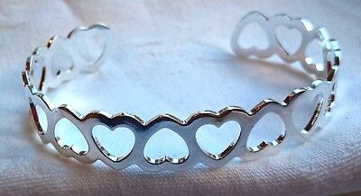 Sterling Silver 925 Ladies Heart Bracelet Bangle Cuff Free Gift Bag SO BEAUTIFUL