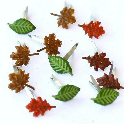 TINY AUTUMN LEAF MINI BRADS Leaves Fall Scrapbooking Card Making Stamping