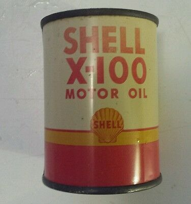 """Rare Vintage Canadian  """"shell X-100 Motor Oil"""" Metal Bank - French & English"""
