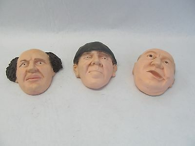 Three Stooges Faces Larry Moe & Curly Plaster Cast Wall Decorations Collectibles
