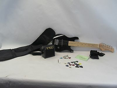 Barcelona Kid's Mini 1/2 Size  Electric Guitar With Amp Amplifier Combo - Black