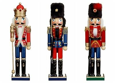 Large Painted Christmas Holiday Nutcracker Soldier  Wooden 37cm NEW