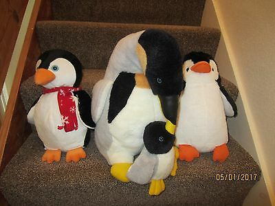 Nice lot of 3 cuddly penguins, large one with baby chick and two medium sized