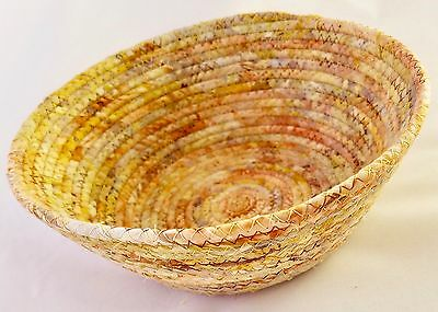 """Coiled Fabric Basket Small Catchall Fabric Wrapped Clothesline Bowl Yellow 7.25"""""""