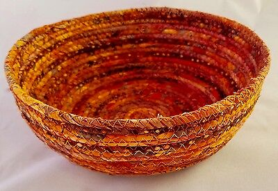 Coiled Fabric Basket Small Catchall Fabric Wrapped Clothesline Bowl Amber Fabric