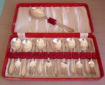 Vintage Silver Plate 13 Piece Dessert Spoons, Serving Spoon and Pastry Forks-Box