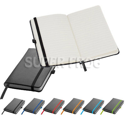 A6 PU Leather Hard Cover Lined Notebook Notepad Writing Pad Ruled Hardback Note