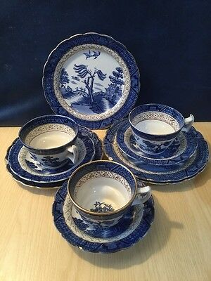 Early Booths Real Old Willow Pattern 3 Trios Blue & White China Vintage