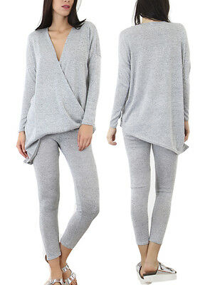 Ladies 2 Piece V Neck Lounge Suit Womens Sweat Jogger Lightweight Gym Tracksuit.
