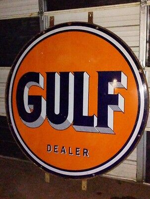 "Original Gulf Dealer Porcelain Sign 66"" Gas Oil 2 sided"