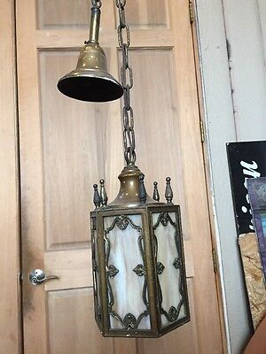 Ll 10 Antique Slag Glass Pendant Chandelier