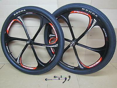 "26"" MTB Mountain Bike Magnesium Mag 7/8/9/10 Speed Wheel Set Kenda(60TPI) Tyres"