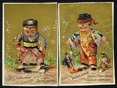 CHINESE BOYS with Dolls & Bug - 1880's LUDLOWS LADIES SHOES Trade Card