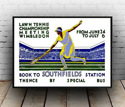 Lawn Tennis Wimbledon 1928 :  London Travel Poster reproduction.