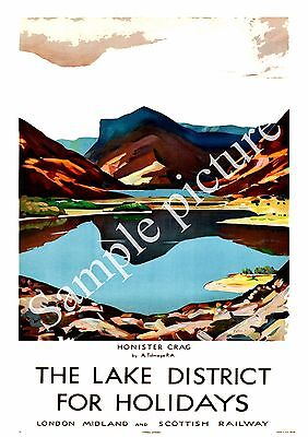 The Lake District :  Vintage Railway Travel Poster reproduction.