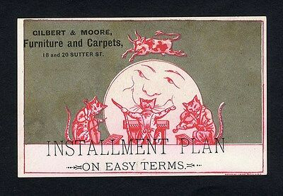 CAT & FIDDLE & COW Jumping Over Moon Nursery Rhyme SAN FRANCISCO Trade Card 1880