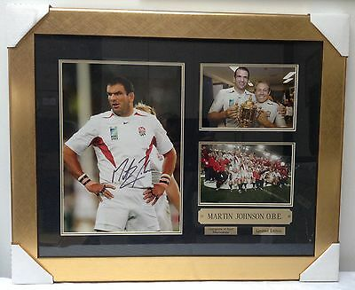 Martin Johnson Signed 2003 Rugby Union World Cup Final Framed England Montage