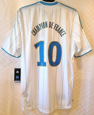 Olympique Marseille 2009-2010 Adidas Home Shirt 10 x Champions With Tags Size L