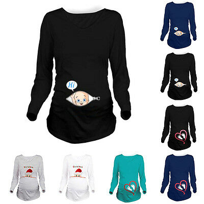 Funny Print Baby Peeking Out Maternity Pregnant Long Sleeve T-shirt Tops Shirts