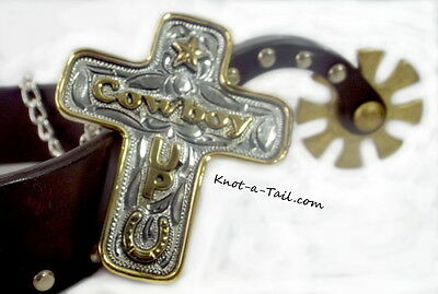 Lets Rodeo COWBOY-UP  Inspirational Cross necklace  Sterling SILVER True Beauty