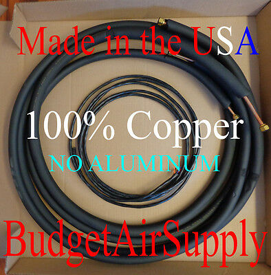 1/4 x 3/8 x 30ft insulated 100% Copper mini split Ductless Lineset+Control wire