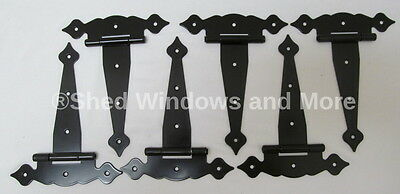 """8"""" Shed Hinges (set of 6) Fancy Decorative Style Storage hardware Coop Playhouse"""