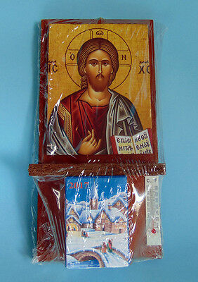 Wooden Christian Wall Calendar 2017-Jesus icon -Thermometer-Poems Greek Orthodox