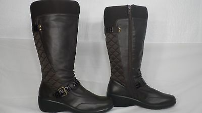 e96f96c1159 Hush Puppies  Waldere  Dark Brown Leather Quilted Back Tall Boot Women Size  7