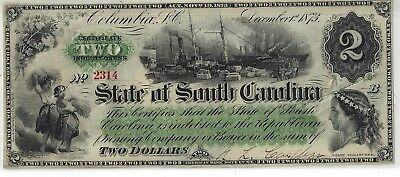 1873 $2 Reconstruction Era Note SC State Note - CR-14 $2 CC Multiples Available