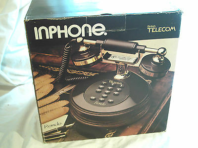 Vintage Retro 80's Telephone   Bt Inphone, Rondo Boxed  New Brown