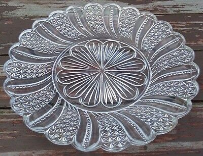 """McKEE - FEATHER DORIC - ANTIQUE EAPG GLASS PLATE - 10"""""""