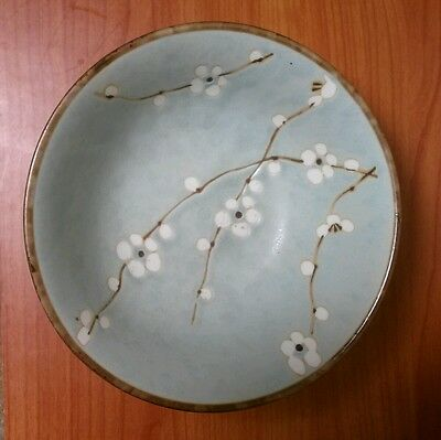 Sousaku Blue Footed Noodle Bowl Cherry Blossom Japanese Stoneware 6 3/4