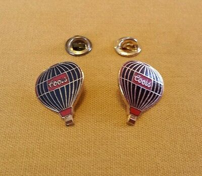 Lot of 2 Vintage Coors Hot Air Balloon Beer Pin Pins Enamel Black Red Gold Tone