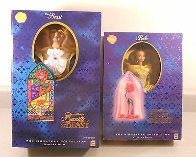 Disney Beauty and The Beast Signature Collection Doll SET Beast & Belle 1997 NIB