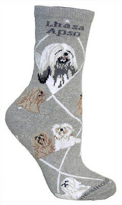 LHASA APSO SOCKS - gray background, American made, 75% cotton